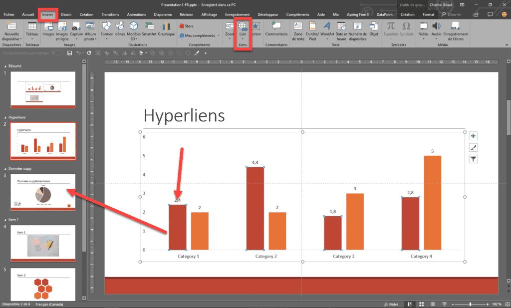 Interface PowerPoint qui montre l'ajout d'un hyperlien sur un graphique