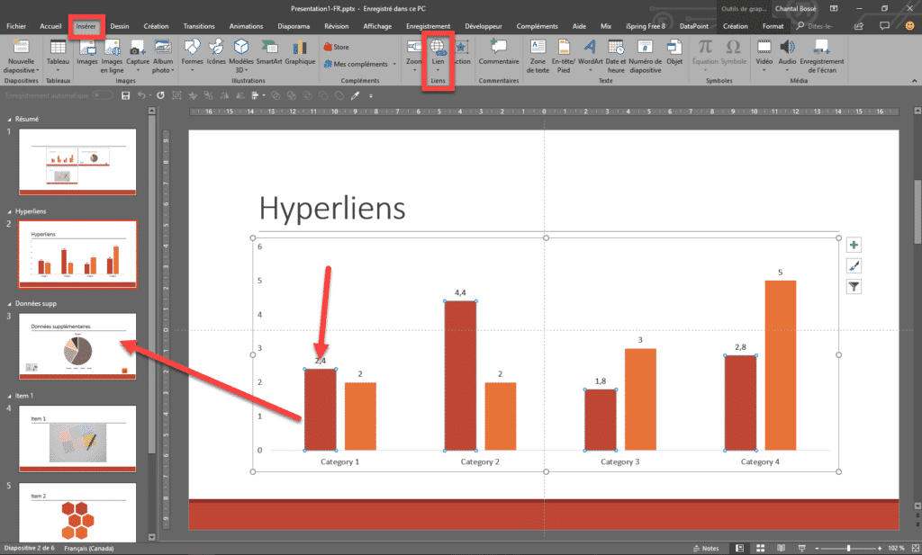 Interface PowerPoint qui montre l'ajout d'un hyperlien sur un graphique