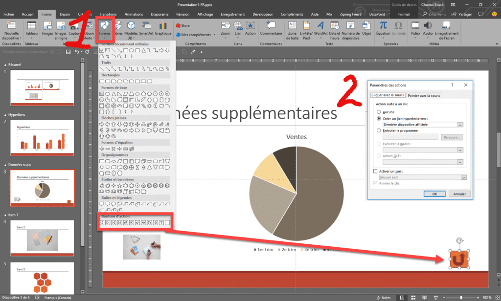 Interface PowerPoint qui montre l'ajout de boutons d'action.
