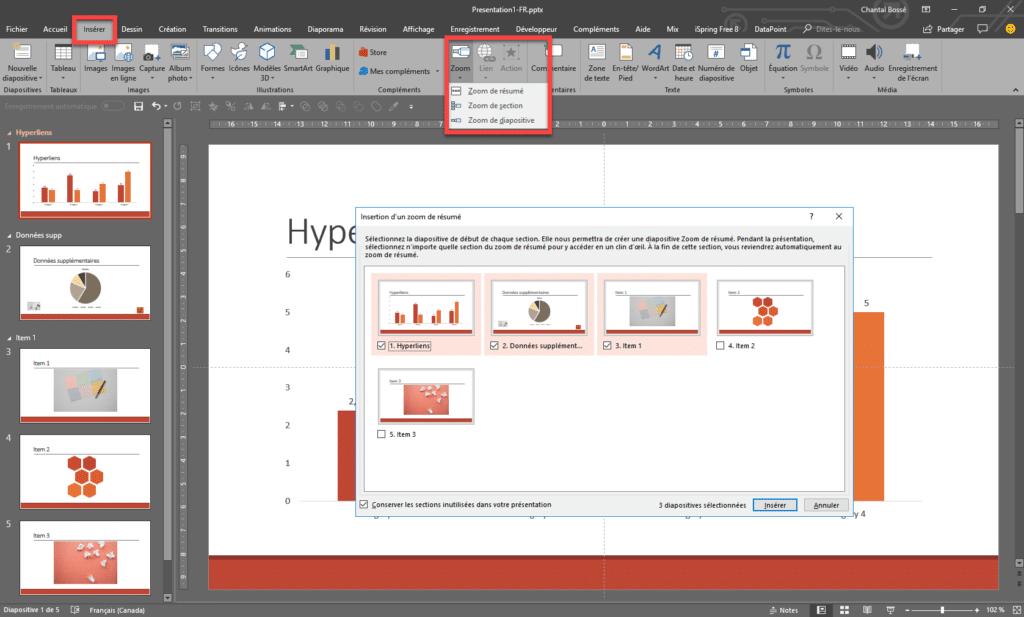 Interface PowerPoint qui montre l'ajout d'un Zoom de résumé