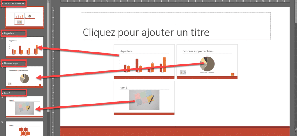 Interface PowerPoint qui montre la diapositive Zoom de résumé
